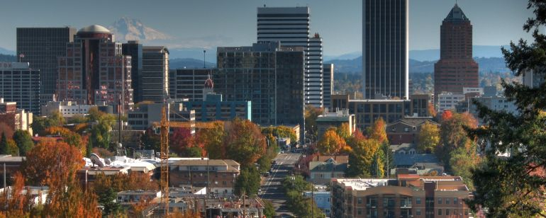 Autumn arrives in downtown Portland.