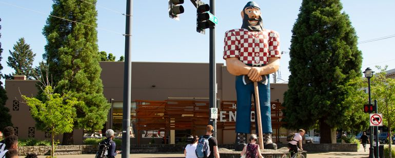The 31-foot-tall Paul Bunyan statue was erected in 1959 in North Portland\'s Kenton neighborhood.