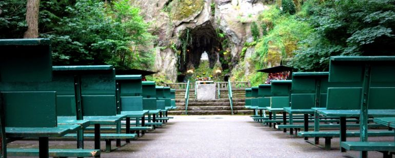 The Grotto offers many lush and peaceful spots for spiritual meditation.