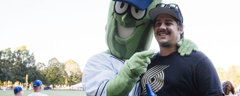 Meet mascot Dillon the Pickle at a Portland Pickles baseball game.