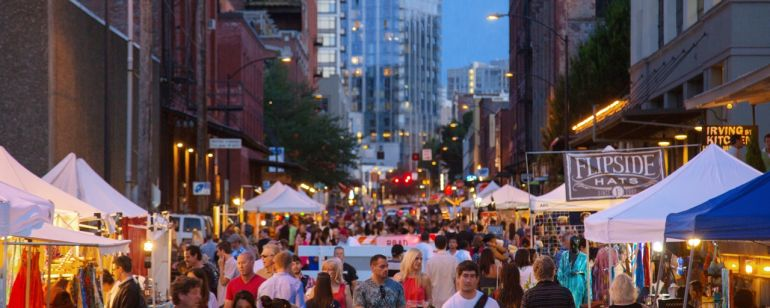 The monthly First Thursday art walk in the Pearl District