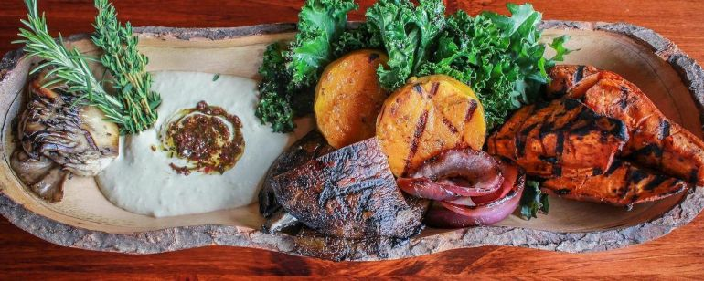 Grilled vegetables abound at healthy plant-based restaurant Harvest at the Bindery.