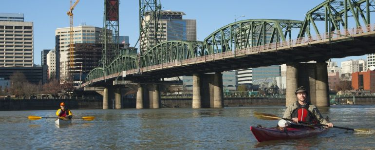 OutKayaking\'s Kyle Sheeley leads a paddle on the Willamette River.