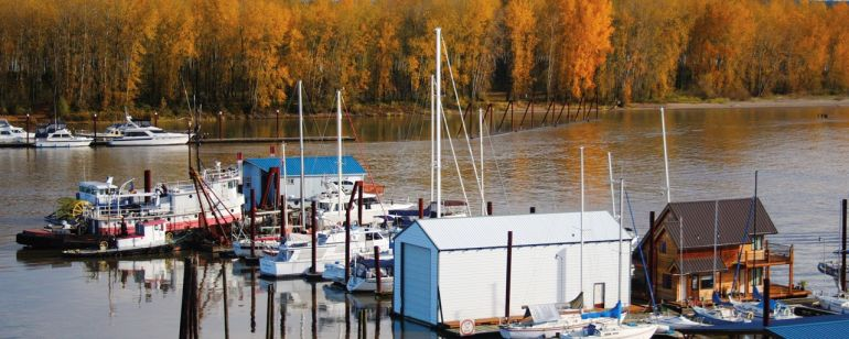 The St. Helens Marina is a tree-lined, quiet harbor on the Columbia River.
