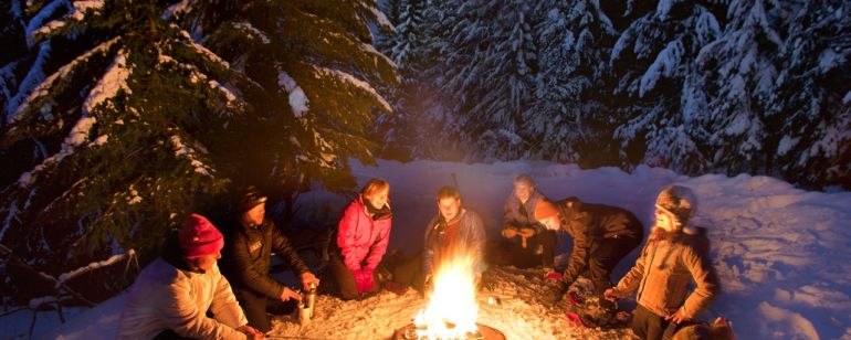 The best way to keep warm while snowshoeing on Mount Hood involves roasting marshmallows.