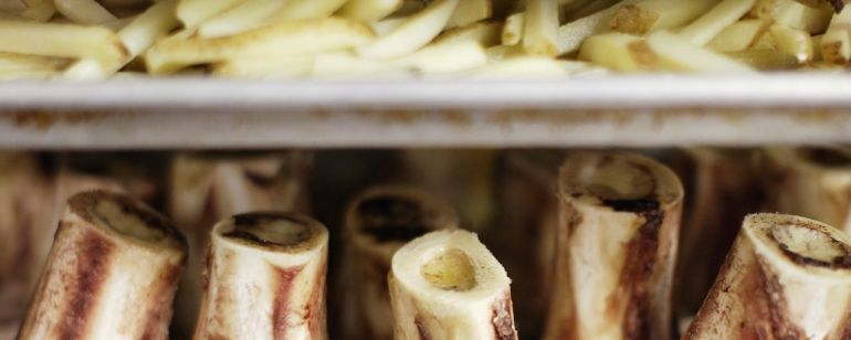 French fries and marrow bones are prepped at Paley\'s Place.