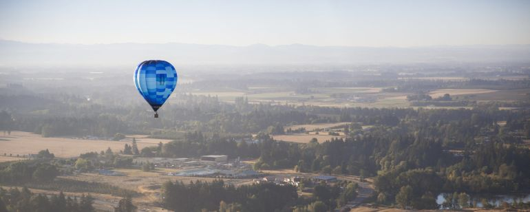 A hot air balloon offers picture-perfect views of the Willamette Valley.