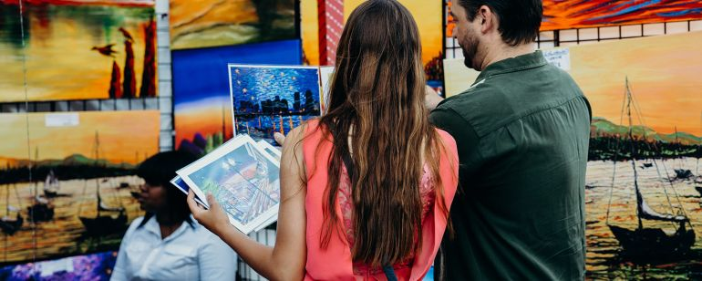 Peruse artwork by dozens of local artists at the First Thursday art walk in Northwest Portland\'s Pearl District.