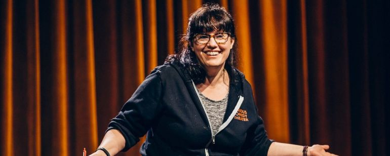 All Jane founder Stacey Hallal performs at Curious Comedy.