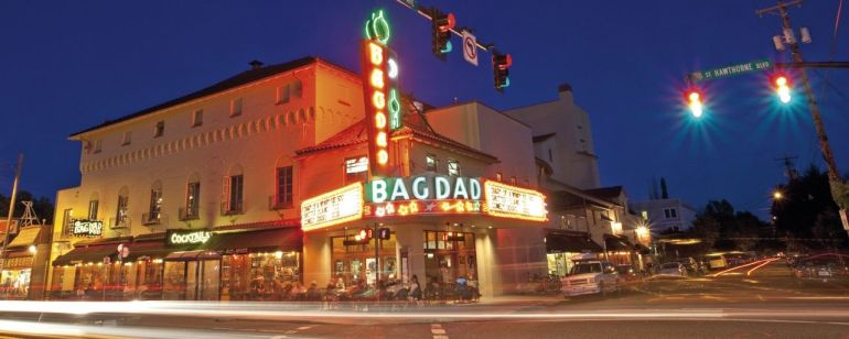 McMenamins Bagdad Theater & Pub is a Hawthorne landmark.