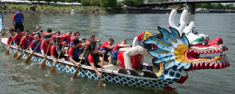 The annual Rose Festival features Dragon Boat Races on the Willamette River.