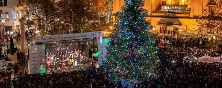 The Holiday Tree at Pioneer Courthouse Square is a festival annual tradition.