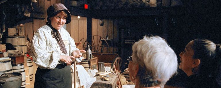 A historical interpreter at the End of the Oregon Trail