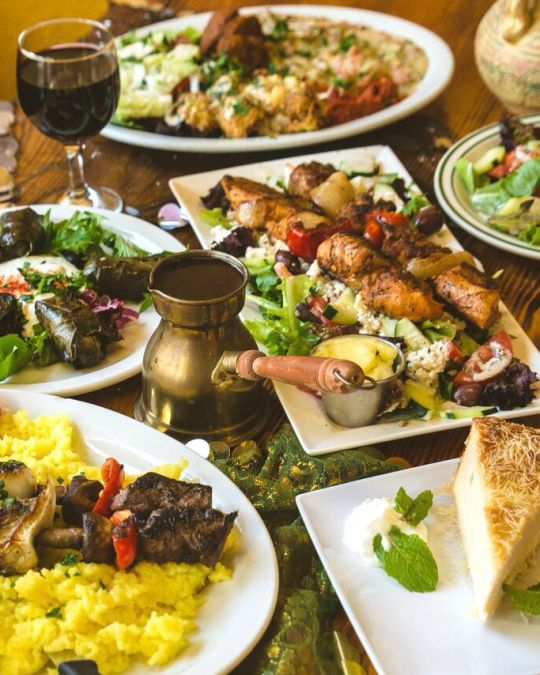 a table of middle eastern food