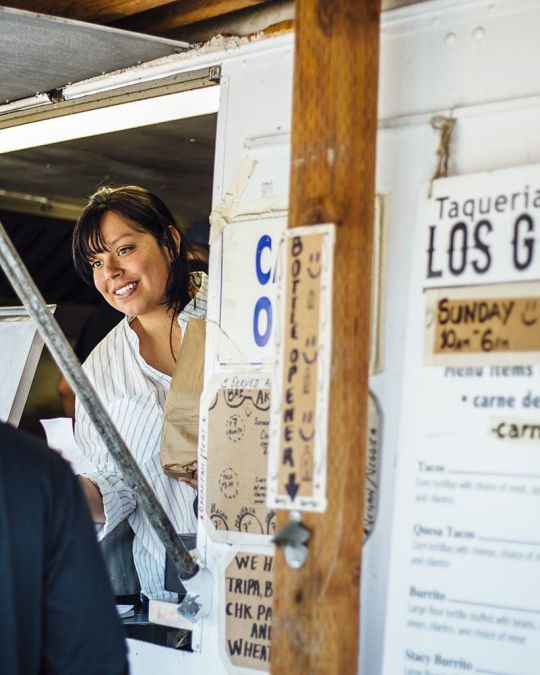 a patron visits los gorditos food truck