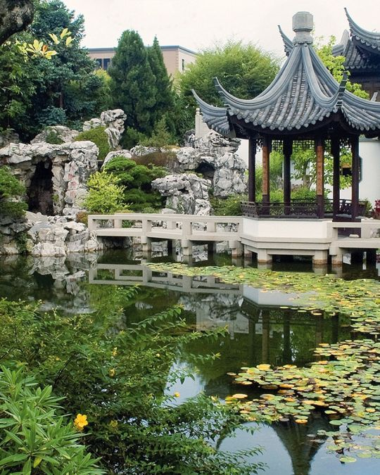 garden with Chinese inspired architecture