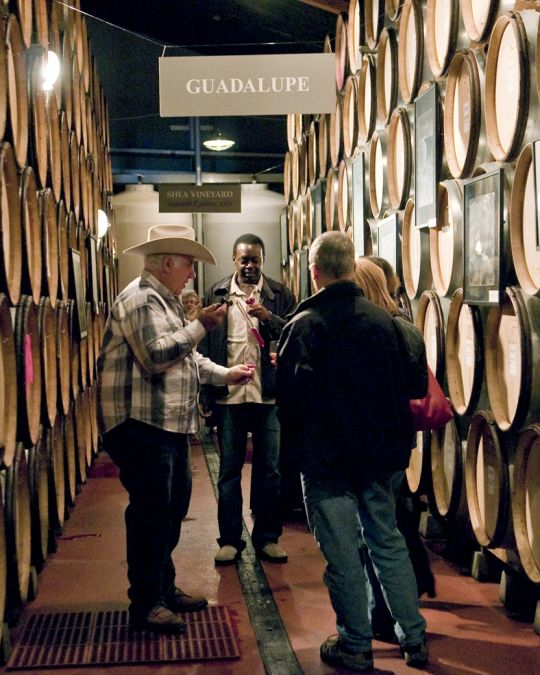 people tasting wine surrounded by wine barrels