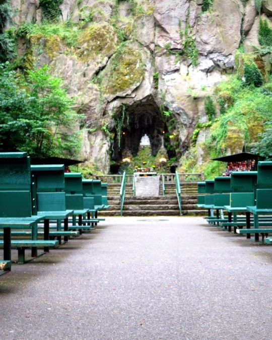 rows of benches face a rock wall and tunnel surrounded by moss, trees