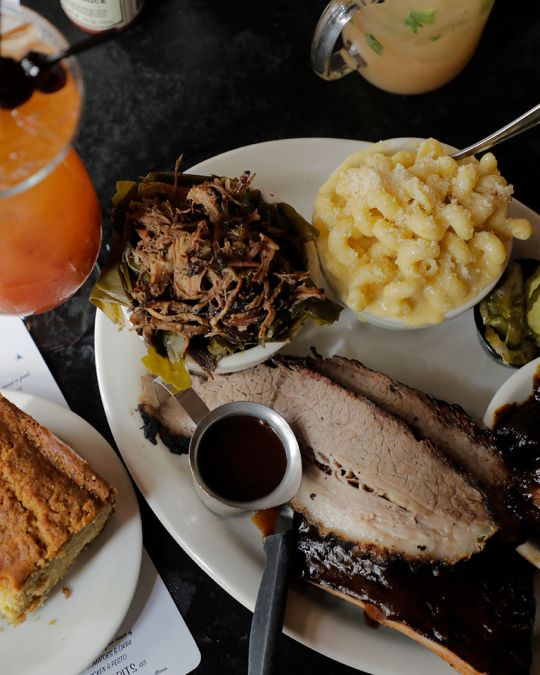 a table of barbecue food