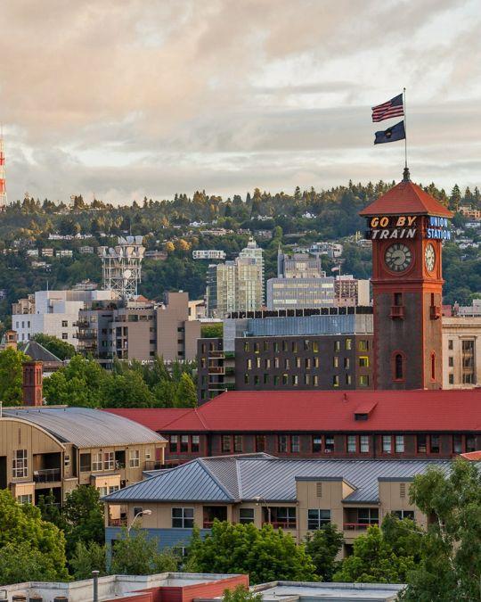 Union Station set against the backdrop of Portland\'s skyline