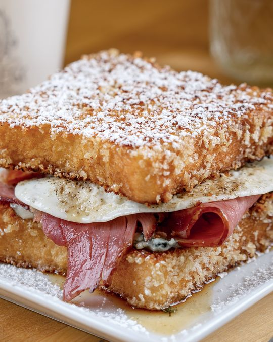 A french toast sandwich with savory filling