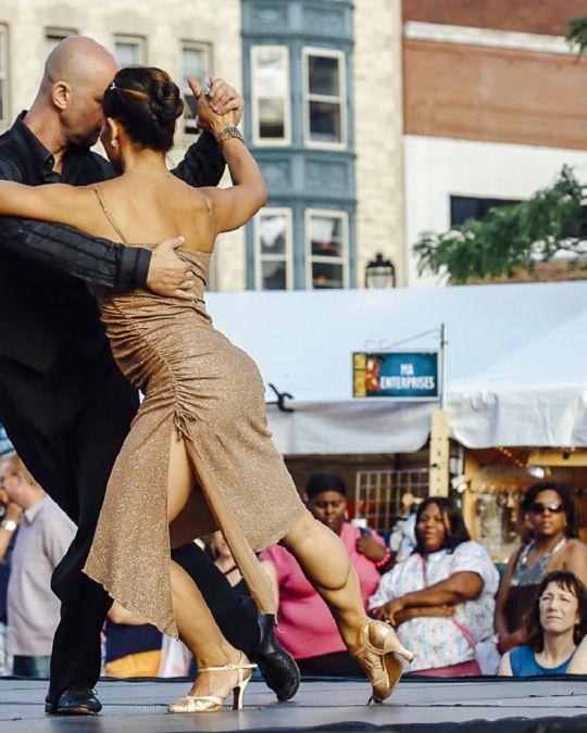 A man and woman dancing tango