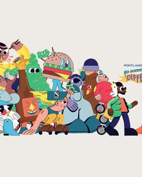 """graphic from Travel Portland\'s \""""Go Somewhere Different\"""" advertising campaign, showing a parade of quirky animated characters"""