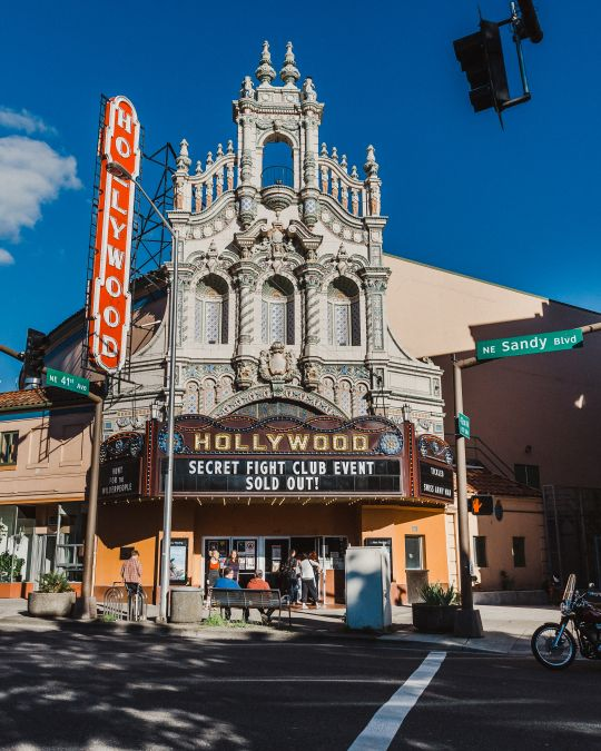 A historic movie theater with an ornate facade
