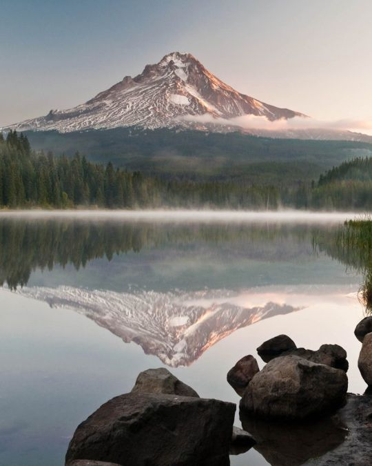 Mount Hood reflected in the water of Trillium lake