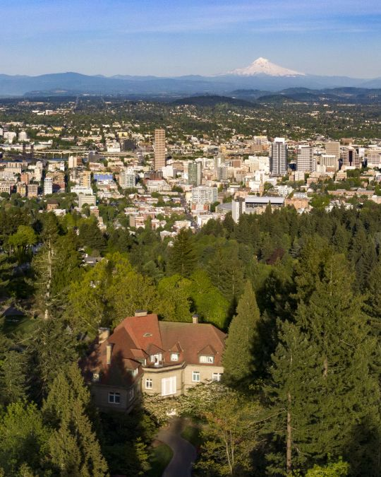 Aerial view of Portland looking east from above the West Hills.