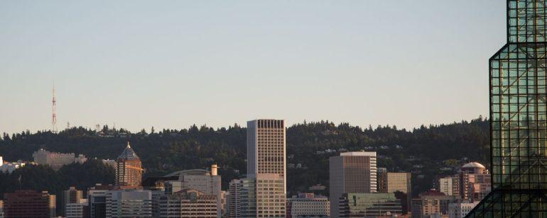 Oregon Convention Center skyline during dusk