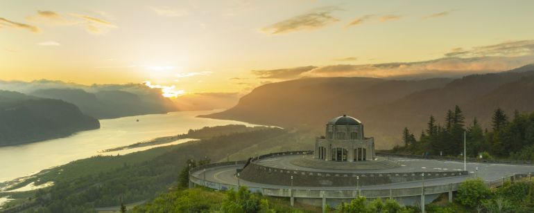 view from the sky of the vista house and columbia river gorge