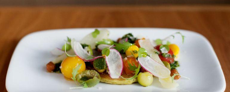 gourmet food plate of vegetables