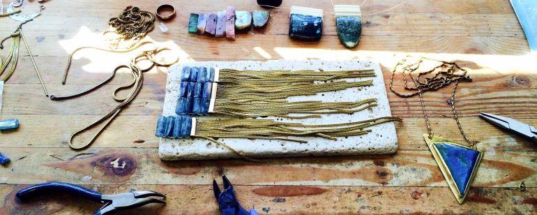 closeup of jewlery being made