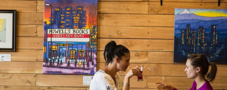 two women drinking cider at Portland Cider House