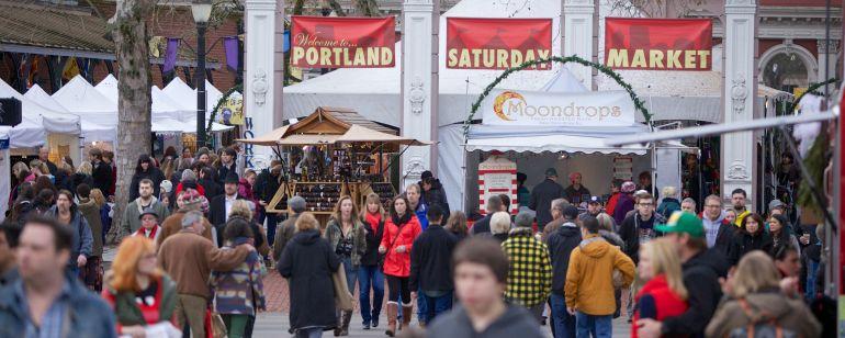 People attending an outdoor market, Portland Saturday Market