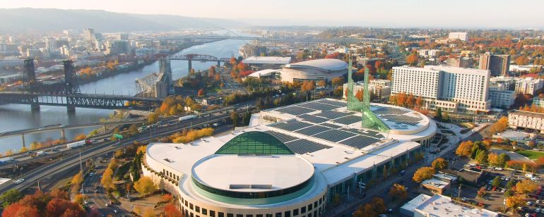 aerial view of oregon convention center and surrounding area