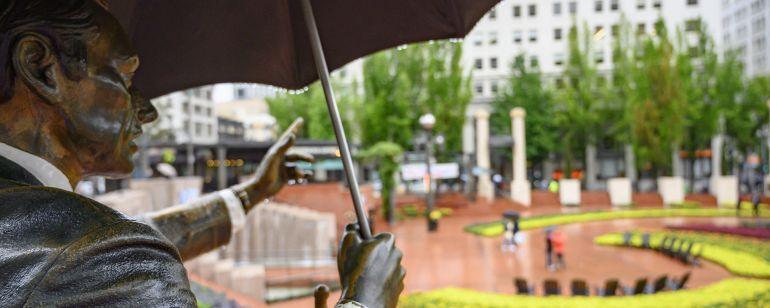 sculpture in brick plaza at Pioneer Courthouse Square