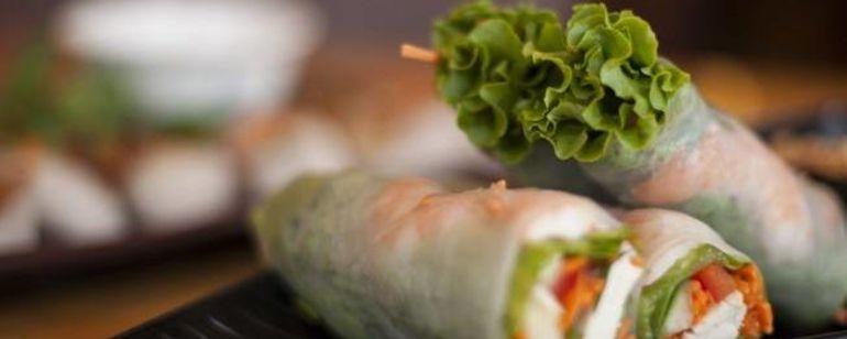 three salad rolls on a plate