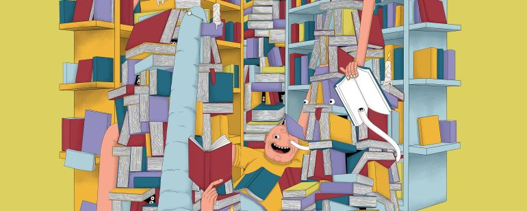 cartoon depicting a long-limbed person browsing through the shelves of Powell\'s Books