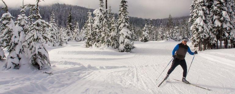 a man skiing on Mt. Hood