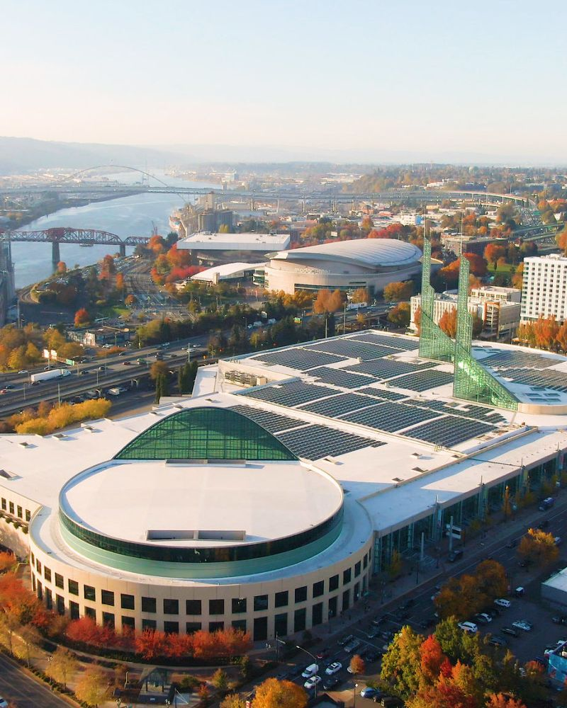 aerial view of the Oregon Convention Center