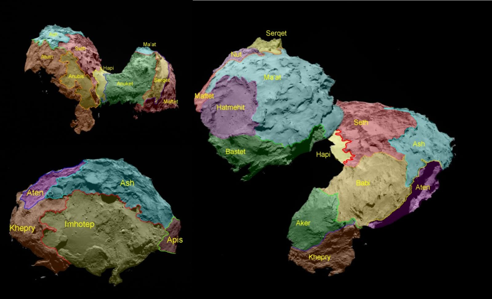 face location - the different sides of 67P/TG are colored to show it's different regions named after egyptian gods - egyptian gods, meteor, colors - paul lahana