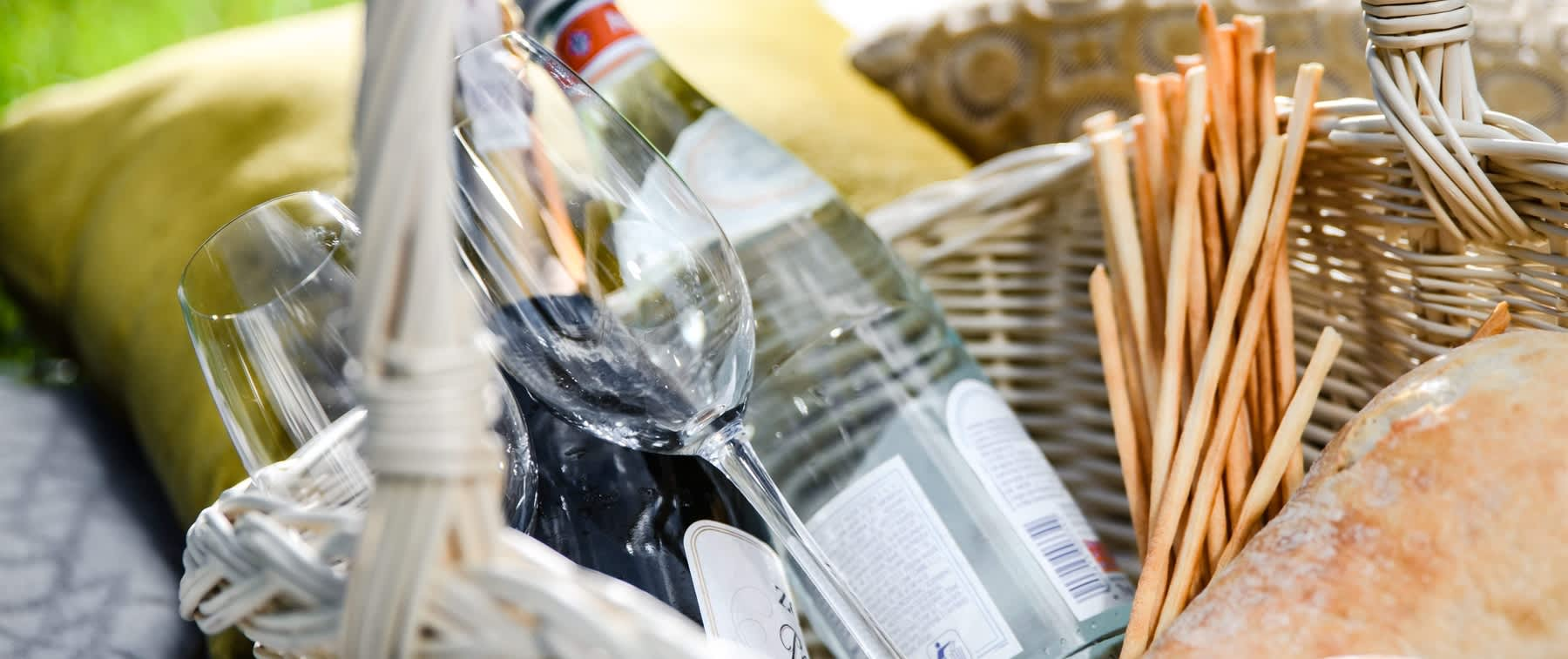 Champagne and glasses in picnic basket