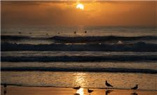 Daytona Beach sunrise behind Hilton Daytona Beach Oceanfront Resort