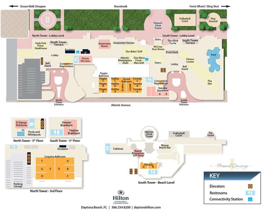 Floor Plans of Hilton Daytona Beach Oceanfront Resort