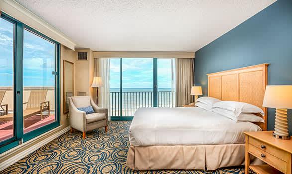 Oceanview Room with Terrace - 1 King Bed of Hilton Daytona Beach Oceanfront Resort