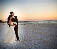 Bride & Groom at Sunset on the Beach - The Don CeSar Hotel Weddings - Bride