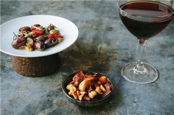 Marinated Olives And Pepper Bacon Roasted Nuts