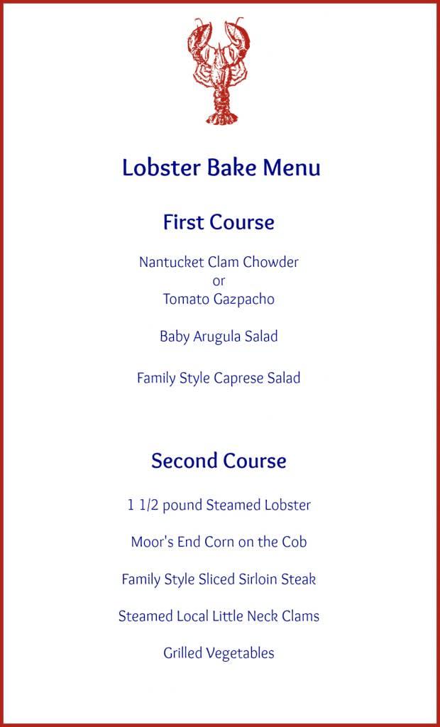 LOB LobsterBake Menu